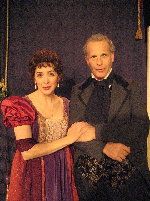 David Arthur Bachrach as the Rev. Geo. Austen with Karen Eterovich as his daughter, Jane, in INNOCENT DIVERSIONS – A CHRISTMAS ENTERTAINMENT WITH JANE AUSTEN AND FRIENDS